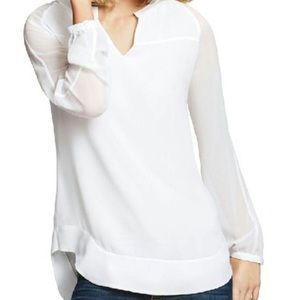 Cabi Allure White Long Sleeve Blouse